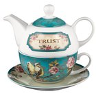 Ceramic Teapot & Colored Saucer: Trust Turquoise Birds Homeware