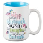 Ceramic Mug: She is Clothed With Strength.... (Blue/white) Homeware