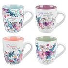 Ceramic Mugs 325ml: Floral, Rejoice Collection (Set Of 4) Homeware
