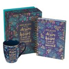 Boxed Gift Set: May He Give You the Desire Journal and Ceramic Mug (360 Ml) Pack