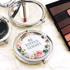 Compact Mirror: Be Joyful Always, Polished Chrome, Floral Homeware