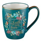 Ceramic Mug : Let Your Faith Be Bigger Than Your Fears, Teal/Floral With Bird, Gold Trim Around Rim (355ml) (Faith Fear Collection) Homeware