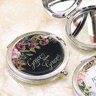 Compact Mirror: Grace Upon Grace, Polished Chrome, Black Floral Homeware