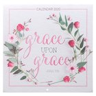 2020 Large Calendar: Grace Upon Grace, Pink Wreath Calendar