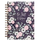 Journal: Be Still & Know, Pink/White Floral on Navy Background (Psalm 46:10) Spiral