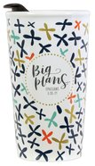 Ceramic Tumblers With Plastic Lid: Big Plans, Coloured Cross Pattern (Eph 3:20-21) Homeware