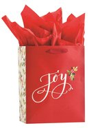 Christmas Gift Bag Medium: Joy, Red With Flowers (Incl Two Sheets Of Tissue Paper) Stationery