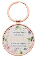 Metal Keyring in Tinbox: Trust in the Lord, Pink Floral (Proverbs 3:5) Novelty