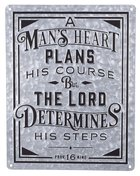 Wall Art: Embossed Metal Sign, a Man's Heart Silver (Prov 16:9) (A Man's Heart Collection) Plaque