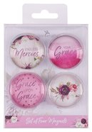 Glass Magnet Set of 4: Grace (2 Cor 12:9) (His Grace Is Enough Collection) Novelty