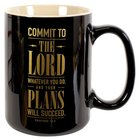 Ceramic Mug: Commit to the Lord... Dark Brown/Gold (Prov 16:3) Homeware