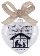 Christmas Glass Hearty Shape Ornament: A Savior Was Born, Nativity Silhouette Homeware