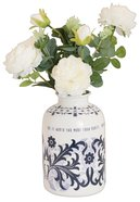 Ceramic Vase Incl Flowers: Proverbs 31, Blue/White