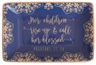 Ceramic Trinket Tray: Call Her Blessed, Blue/White (Proverbs 31:28) Homeware