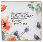 Gracelaced Ceramic Trinket Tray: White/Floral (Proverbs 31:26) Homeware