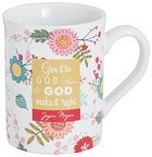 Joyce Meyer Ceramic Mug: Give It to God, Green/White/Yellow Floral Homeware