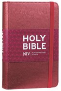 NIV Ruby Thinline Bible With Elastic Strap Dark Red Imitation Leather