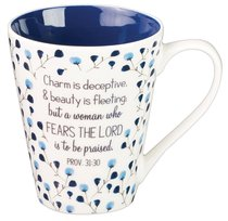 Ceramic Mug: Proverbs 31:30 Collection, Blue/Floral