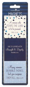 Magnet Set of 3: Proverbs 31:30 Collection, Blue/White