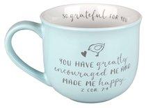 Ceramic Mug Grateful For You: Greatly Encourage, White Inside/Pale Blue Outside (2 Cor 7:4)