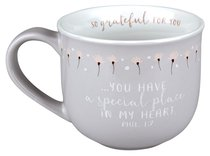 Ceramic Mug Grateful For You: Special Place, White Inside/Gray-Green With Flowers Outside (Phil 1:7)