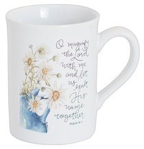 Gracelaced Ceramic Mug: Magnify the Lord, Cream/Sunflowers in Blue Vase