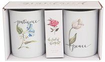 Ceramic Mugs Set of 2: Fruit of the Spirit, Patience & Peace, White/Flowers on Each Mug