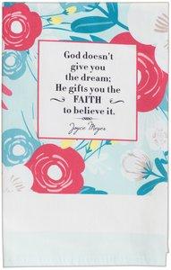 Joyce Meyer Cotton Tea Towel: Faith, White/Blue/Red