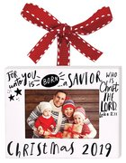 Christmas Ornament Frame: Christmas 2019, White Metal Finish With Red Ribbon, Luke 2:11 Homeware