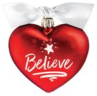 Christmas Glass Ornament Heart Shape: Believe, For Unto Us a Child is Born Homeware
