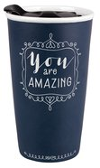 Ceramic Tumbler Mug: Affirmed You Are Amazing, Navy/White (Prov 31:25) Homeware