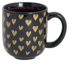 Love Collection Ceramic Mug: Love Each Other, Black/With Gold Hearts Homeware