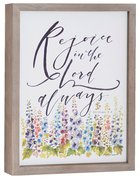 Gracelaced Polyresin Framed Art: Rejoice in the Lord, White/Country Flowers Plaque