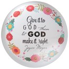 Joyce Meyer Glass Paperweight: Give It to God, Green/White/Yellow Floral Homeware