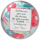 Joyce Meyer Glass Paperweight: He Gifts You the Faith, Red/White/Blue Flowers Homeware