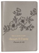 Journal Slimline: Strength & Dignity, Flower Design/Gold Etching (Proverbs 31:25) Imitation Leather