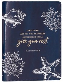 Journal Slimline: Give You Rest Collection, Navy/White Luxleather (Matthew 11:28)