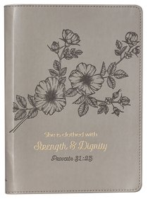 Journal Slimline: Strength & Dignity, Flower Design/Gold Etching (Proverbs 31:25)