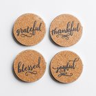 Cork & Metal Coaster Set of 4: Thankful; Grateful; Blessed; Joyful Homeware