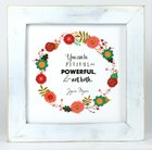 Joyce Meyer Framed Box Plaque: Send Faith, White/Colored Floral Wreath Plaque