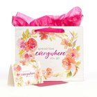 Gift Bag With Card: Everywhere, Pink Floral Stationery