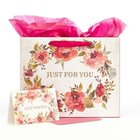 Gift Bag With Card: Just For You, Pink Floral Stationery