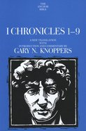 I Chronicles 1-9 (Anchor Yale Bible Commentaries Series) Hardback