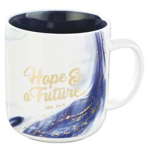 Ceramic Mug: Hope & a Future, Blue/White Marble/Gold Etching (Jer 29:11)