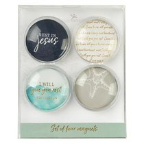 Magnetic Set of 4 Glass Magnets: I Will Give You Rest