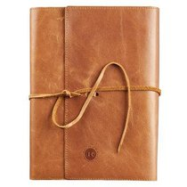 Bible Cover Wrap: Genuine Full Grain Brown Leather, Righteous Man