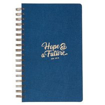 Spiral Journal: Hope & a Future, Navy/Gold Etched (Jeremiah 29:11)