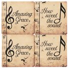 Ceramic Square House Coaster Set of 4: Amazing Grace, Music Notes, Cream/Black Homeware