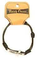 Men's Faith Gear Leather Bracelet: Trust in God Silver Cross, Black Leather Jewellery