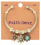 Women's Faith Gear Open-Sided Bangle: Flowers (Antique Gold/aged Silver) Jewellery